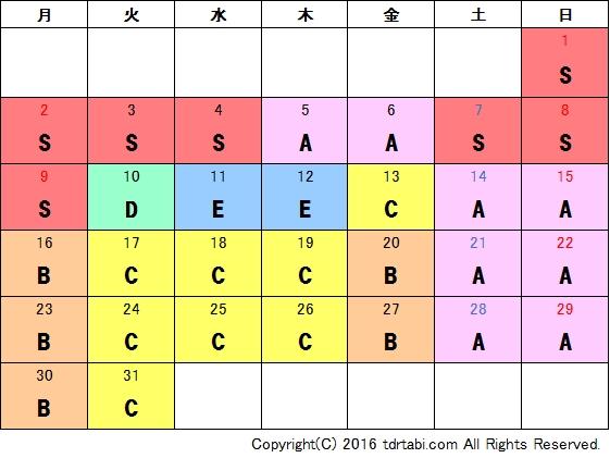 2017年1月混雑予想カレンダー・ディズニーシー
