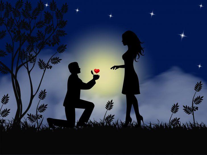 プロポーズしている男女のシルエット画像